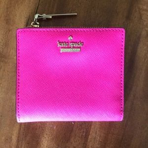 Kate Spade hot pink wallet with gold detailing